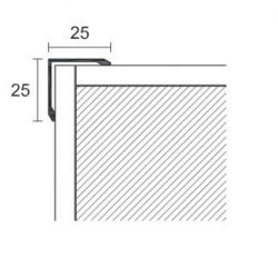 Angolare 25x25x3000 mm alluminio anodizzato argento senza fori
