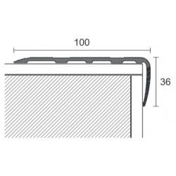 Profilo per scale 100 x 36 x 2700 mm alluminio anodizzato argento forato