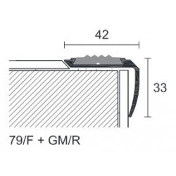 Profilo per scale 42 x 33 x 3400 mm alluminio anodizzato argento forato