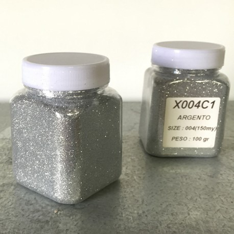glitter argento grana piccola largh. 0,15mm sp. 0,012mm 100gr