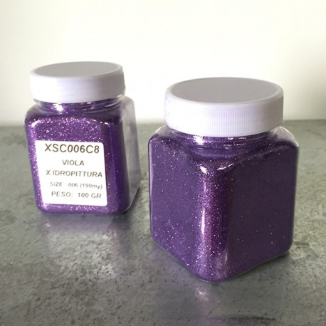 glitter viola idropittura grana medio/piccola largh. 0,19mm 100gr