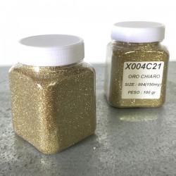 glitter oro chiaro grana piccola largh. 0,15mm sp. 0,012mm 100gr