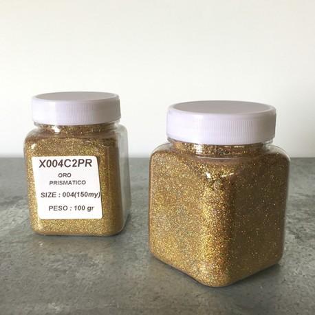glitter oro prismatico grana piccola largh. 0,15mm sp. 0,012mm 100gr