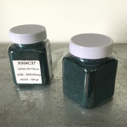 glitter verde bottiglia grana piccola largh. 0,15mm sp. 0,012mm 100gr