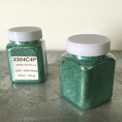 glitter verde pastello grana piccola largh. 0,15mm sp. 0,012mm 100gr