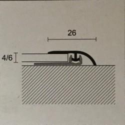 Raccordo per dislivello 26 x 4/6 x 2700 mm Alluminio anodizzato argento