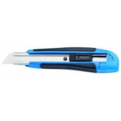 Cutter largo lama 18 mm Manico a 2 componenti, con guida metallica, arresto automatico della lama
